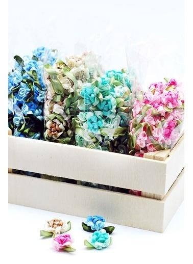 Funbou Saten Çiçek Süs / 10 Adet Mavi